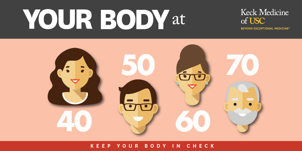 Illustration of men and women in their 40s, 50s, 60s and 70s